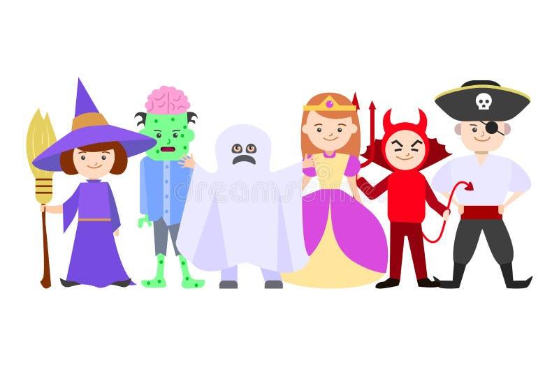 动画片万圣节孩子打扮小组或人群 ?? 库存例证