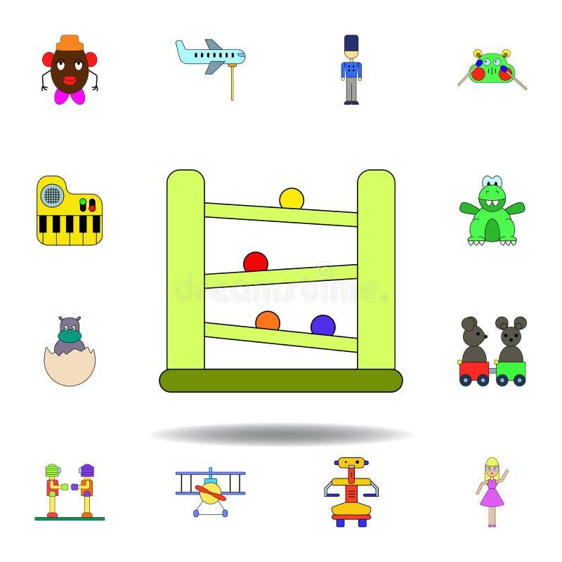 动画片下坡竟赛者戏弄色的象 设置儿童玩具例证象 标志,标志可以为网,商标使用, 皇族释放例证