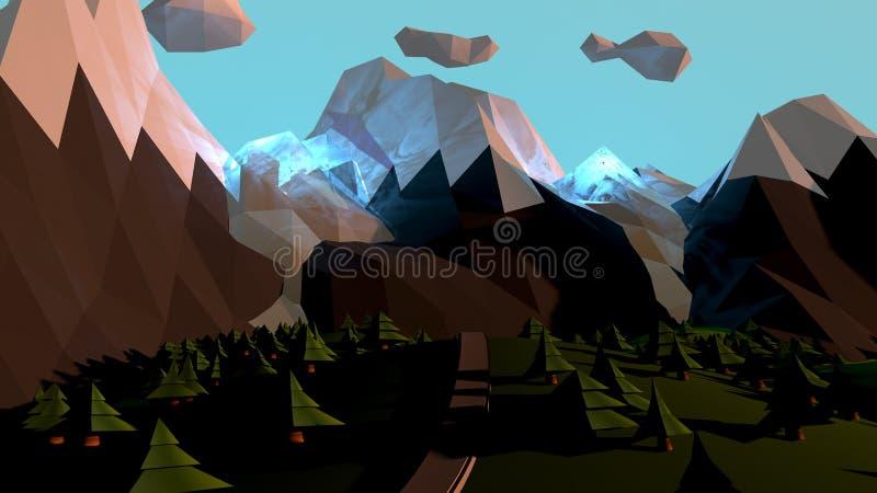 动画片与不可思议的山和树的世界风景 向量例证