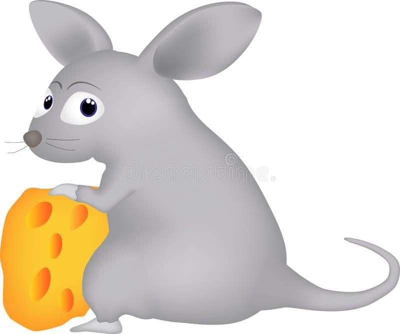 动画片与乳酪片断的一只老鼠  向量例证