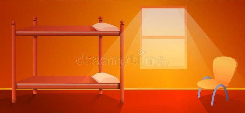 动画片与床的旅舍内部 向量例证