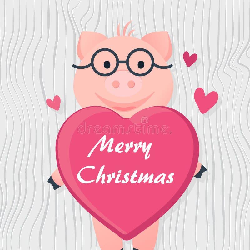 动画片与心脏的桃红色小猪在玻璃 皇族释放例证