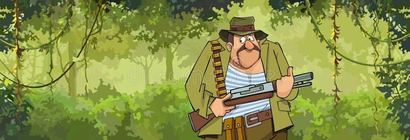 动画片与枪的人猎人走通过森林的 向量例证