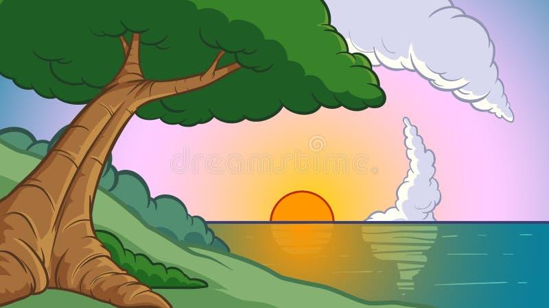 动画片与树和海洋的背景日落 库存例证
