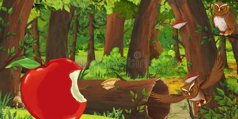 动画片与深森林和鸟猫头鹰的夏天场面用鲜美苹果 皇族释放例证