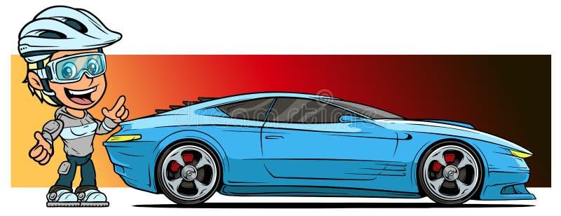 动画片与现代蓝色跑车的女孩字符 向量例证