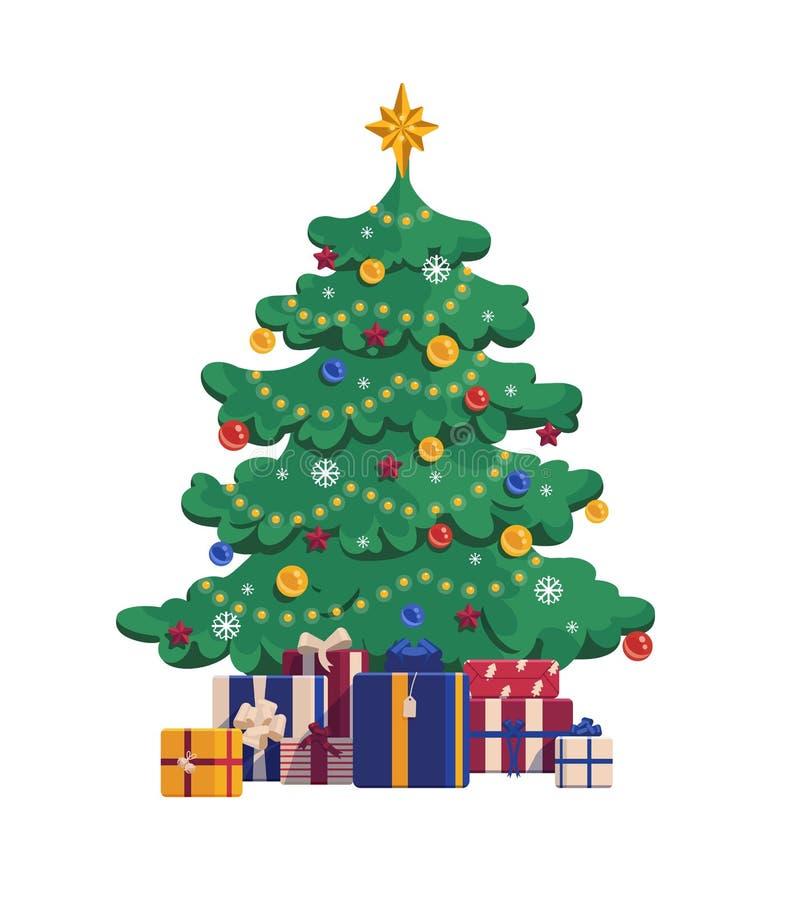动画片与礼物盒的圣诞树 Xmas在白色背景的传染媒介例证 向量例证
