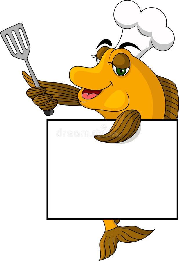 动画片与空白符号的厨师鱼 库存例证