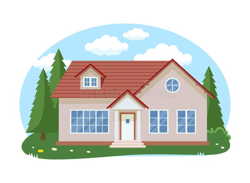 动画片与蓝色被覆盖的天空前面家庭建筑学概念平的设计样式的房子外部 r 向量例证