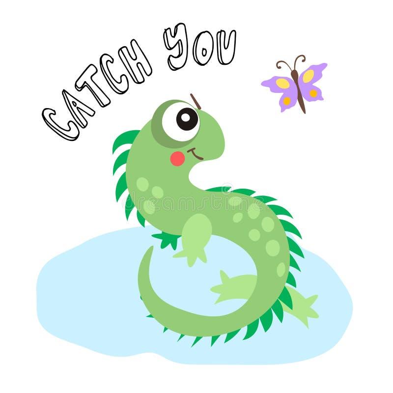 动画片与逗人喜爱的蜥蜴的传染媒介例证和蝴蝶和字法 逗人喜爱的连续蜥蜴壁虎 库存例证