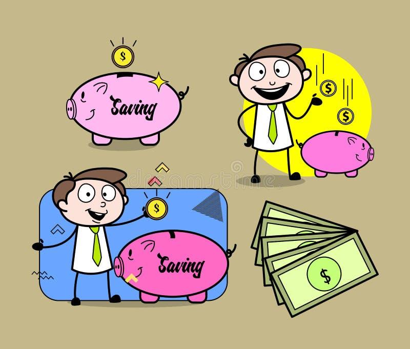 动画片专业商人金钱和保存的概念 库存例证