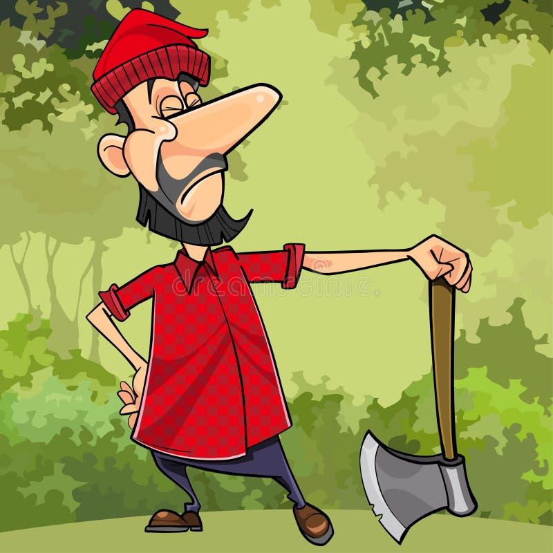 动画片严肃的伐木工人在有轴的森林里 皇族释放例证