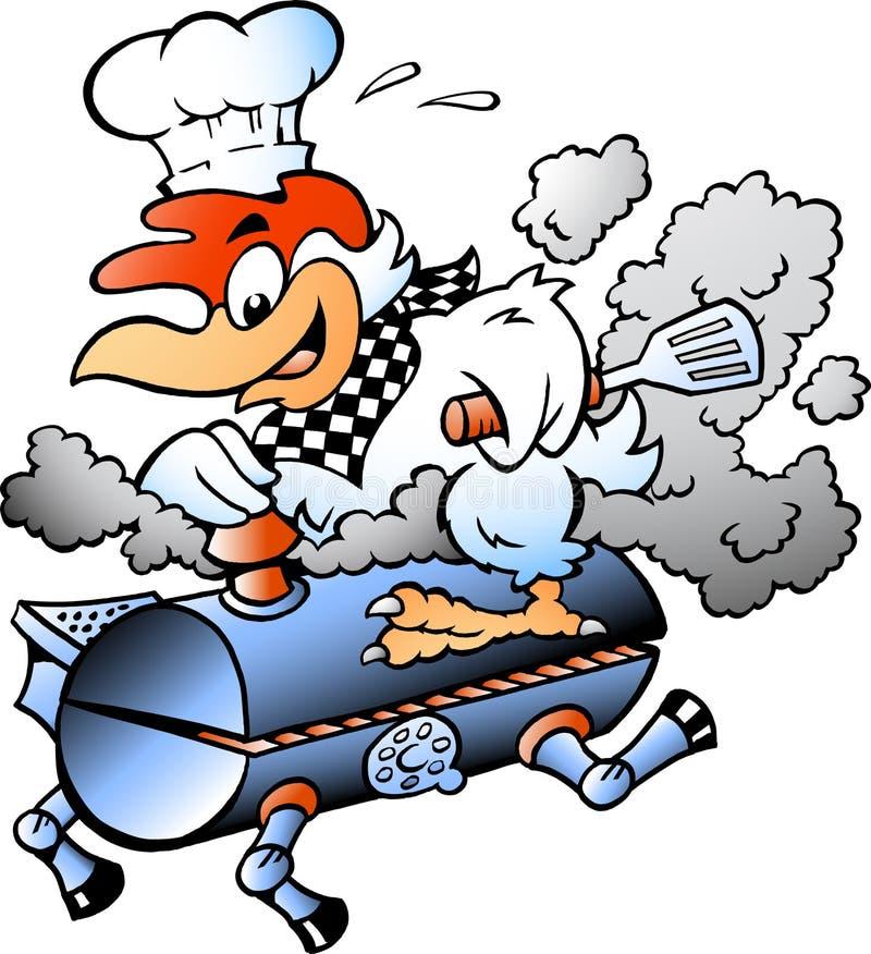 动画片乘坐BBQ格栅桶的厨师鸡的传染媒介例证 库存例证