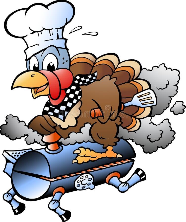 动画片乘坐BBQ格栅桶的感恩土耳其厨师的传染媒介例证 皇族释放例证
