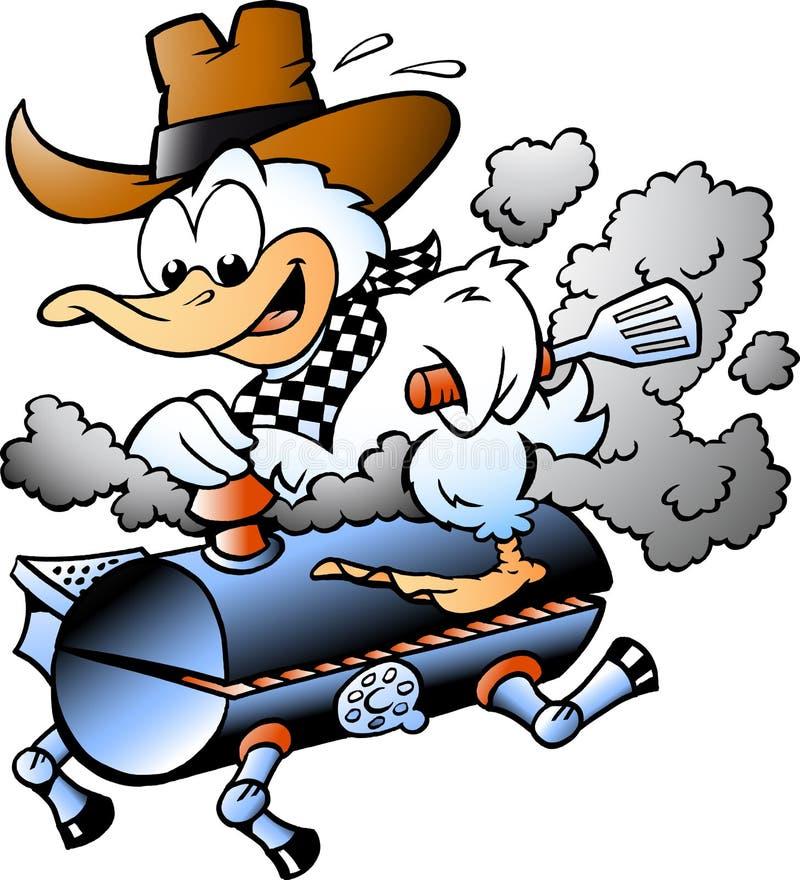 动画片乘坐BBQ格栅桶的鸭子的传染媒介例证 向量例证