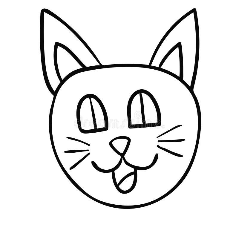 动画片乱画在白色背景隔绝的猫的枪口 纯稚样式 向量例证