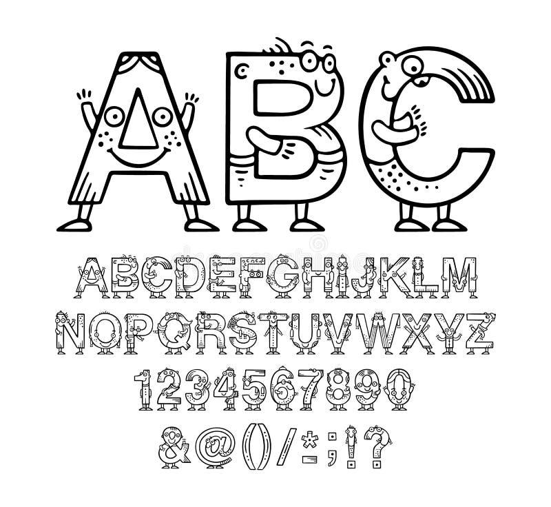 动画片乱画字母表或字体与眼睛和微笑孩子设计的 免版税库存图片