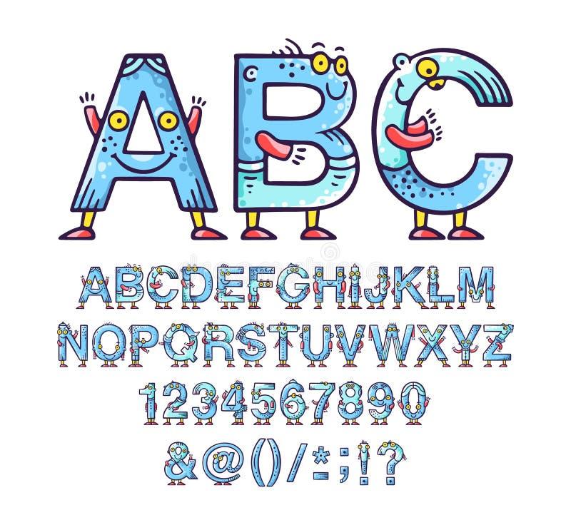 动画片乱画字母表或字体与眼睛和微笑孩子设计的 库存图片