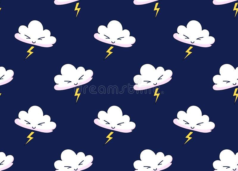 动画片云彩的传染媒介无缝的样式与闪电的在黑暗的夜背景 向量例证