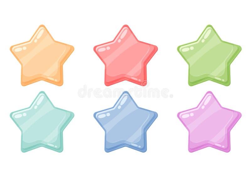动画片五颜六色的光滑的星发光的象 比赛艺术 皇族释放例证