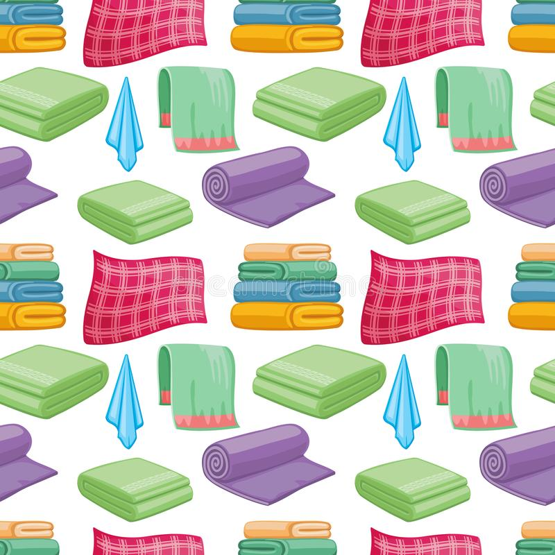 动画片五颜六色的毛巾无缝的样式 向量例证