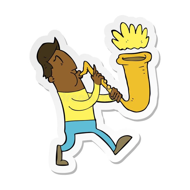 动画片人吹的萨克斯管的贴纸 向量例证