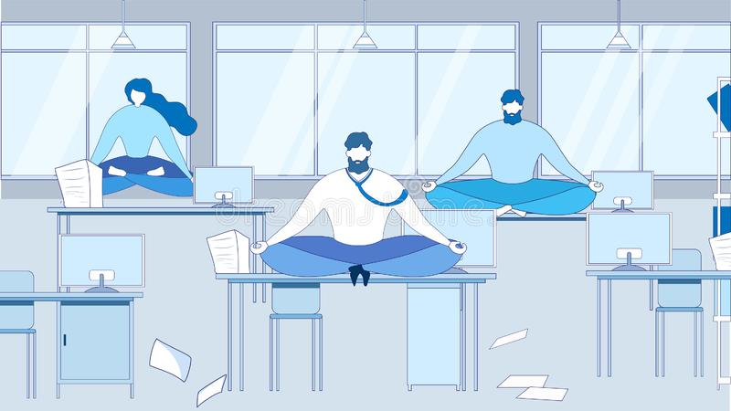 动画片人在表办公室工作场所思考 向量例证