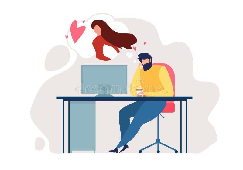 动画片人坐椅子办公室表浪漫心情 皇族释放例证