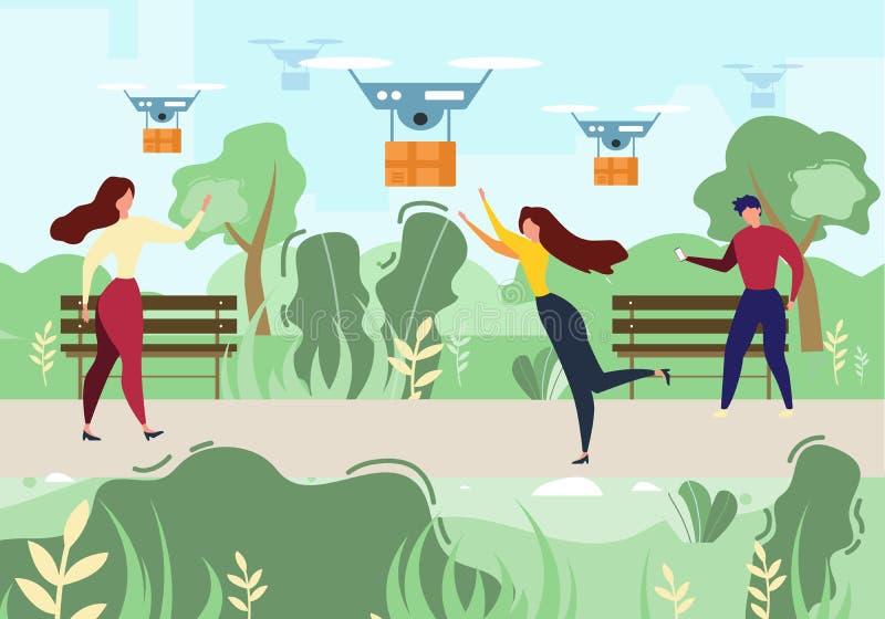 动画片人妇女接受邮件空气寄生虫交付 库存例证