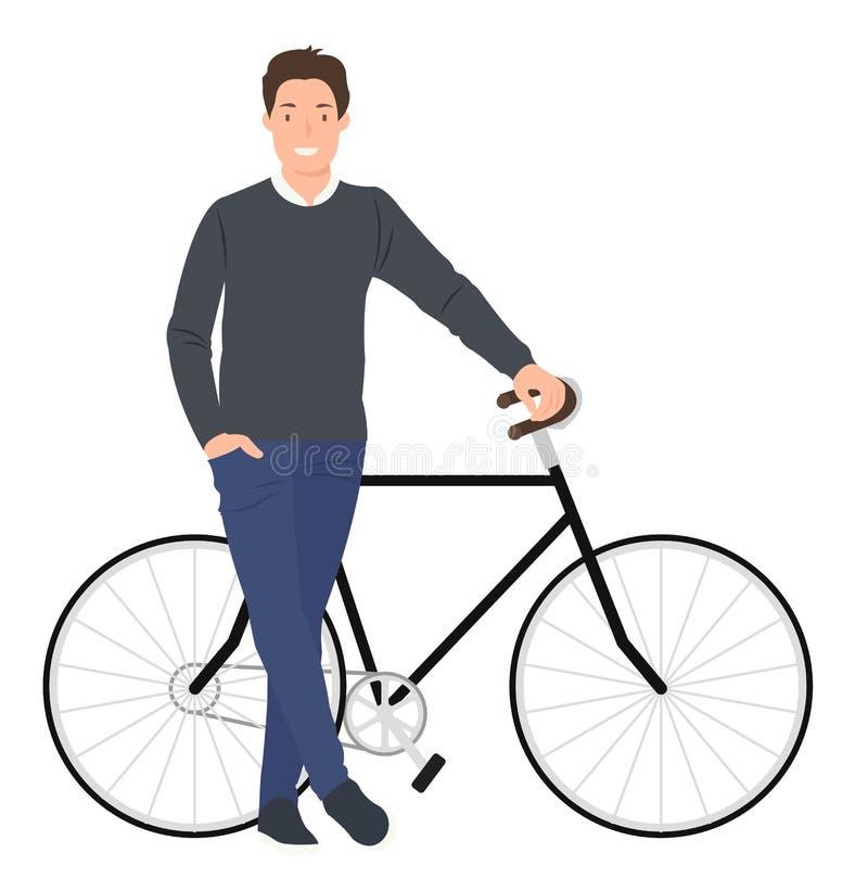 动画片人字符设计摆在他的自行车旁边的年轻人 库存例证