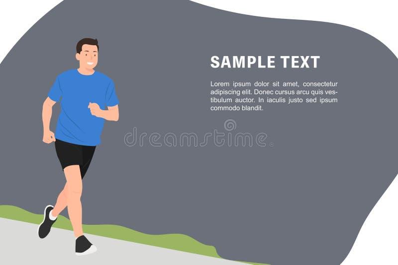 动画片人字符设计横幅愉快地跑步模板的年轻人 向量例证