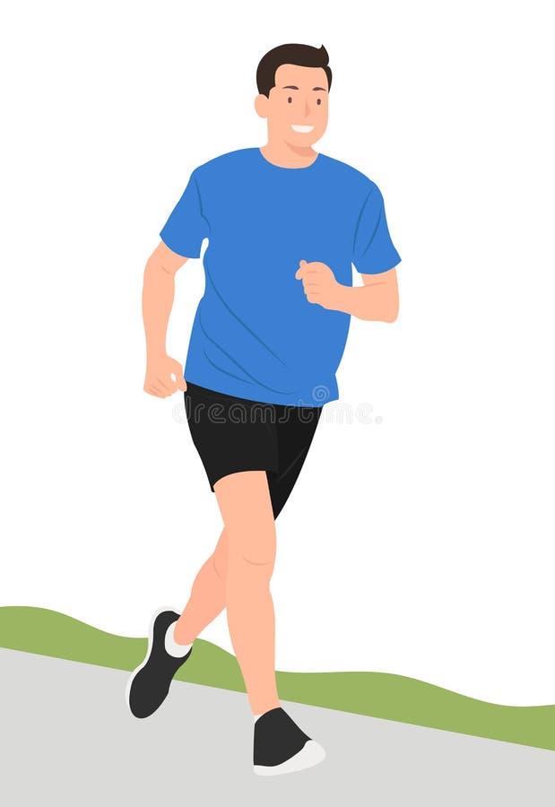 动画片人愉快地跑步字符设计的年轻人 皇族释放例证