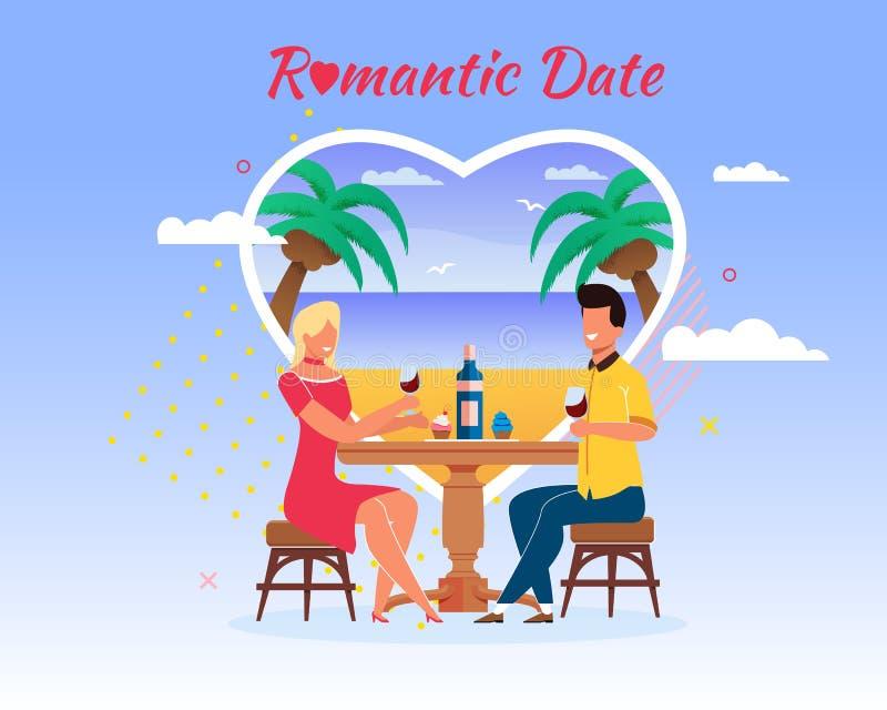 动画片人海海滩旅行浪漫日期 向量例证