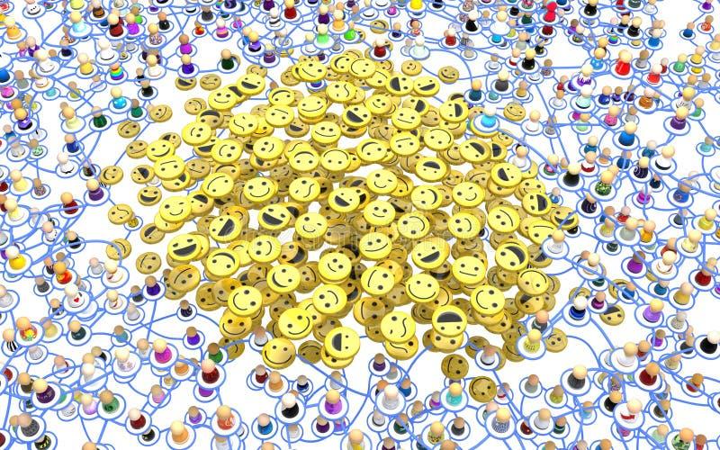 动画片人群分层系统,微笑堆 库存例证