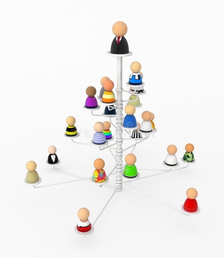 动画片人群培养结构树 库存例证