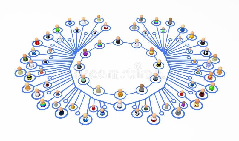 动画片人群线路环形翼 向量例证