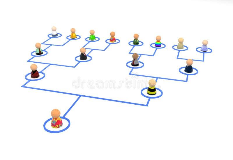 动画片人群连结结构树 库存例证