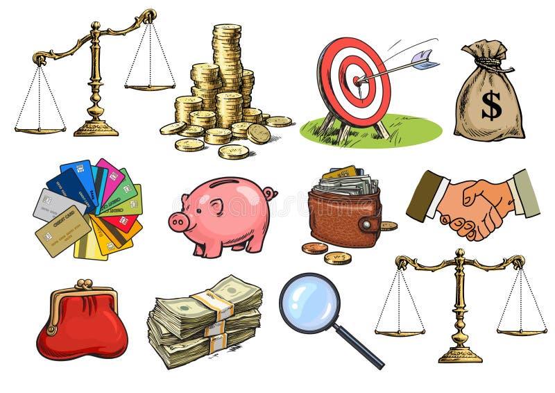 动画片企业集合 标度,堆硬币,大袋美元,信用卡,握手,钱包,钱包,存钱罐 向量例证