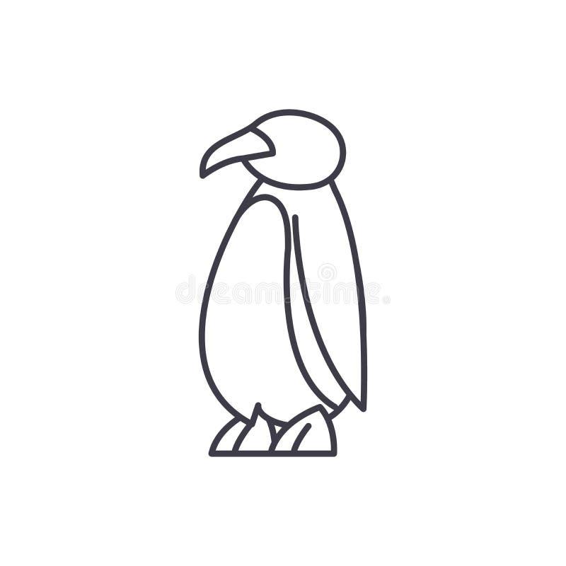 动画片企鹅线象概念 动画片企鹅传染媒介线性例证,标志,标志 库存例证