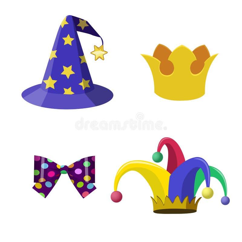 动画片传染媒介乐趣头饰 魔术师帽子,说笑话者盖帽,冠,弓 集合 向量例证