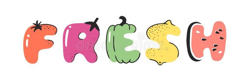 动画片传染媒介例证的蔬菜和新鲜的水果和的词 手拉的画的素食食物 实际创造性的素食主义者艺术 向量例证