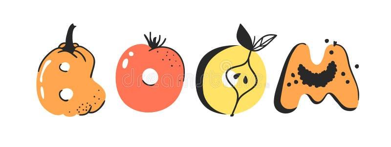 动画片传染媒介例证蔬菜和水果和词景气 手拉的画的素食食物 实际创造性的素食主义者艺术 向量例证