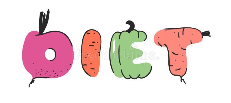 动画片传染媒介例证蔬菜和水果和词饮食 手拉的画的素食食物 实际创造性的素食主义者艺术 库存例证
