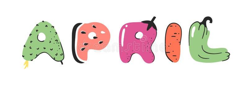 动画片传染媒介例证蔬菜和水果和词4月 手拉的画的素食食物 实际创造性的素食主义者艺术 皇族释放例证