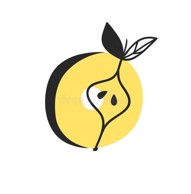 动画片传染媒介例证蔬菜和水果ABC 手拉的字体用素食主义者食物 实际创造性的艺术素食字母表 皇族释放例证