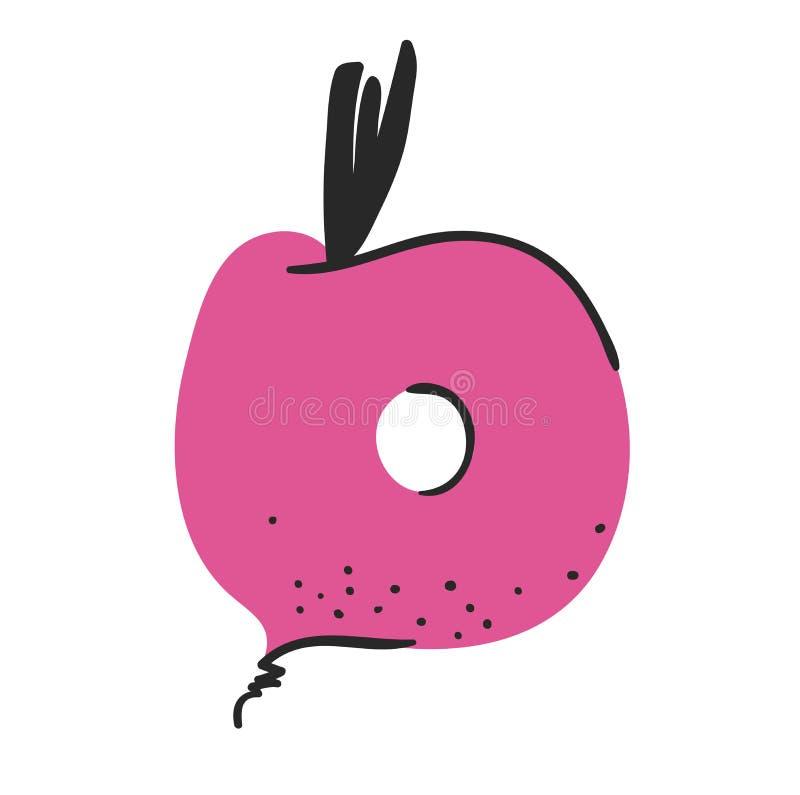 动画片传染媒介例证蔬菜和水果ABC 手拉的字体用素食主义者食物 实际创造性的艺术素食字母表 库存例证