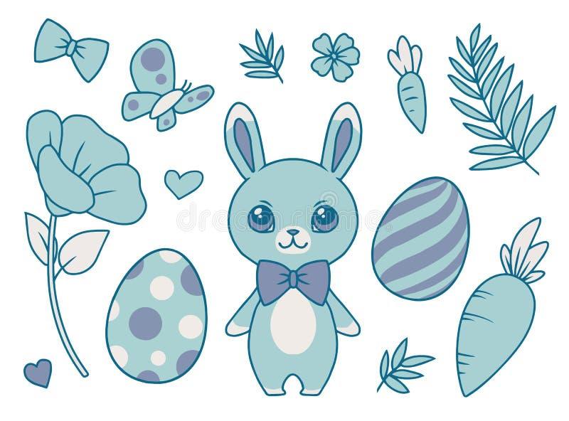 动画片传染媒介收藏设置与佩带bowtie、春天花、蝴蝶、红萝卜、叶子和复活节彩蛋的淡色蓝色兔宝宝 皇族释放例证