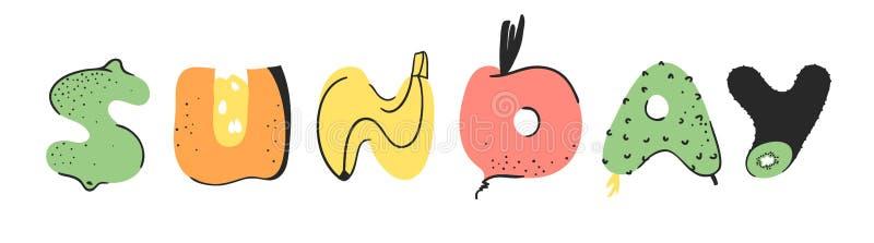 动画片传染媒介星期天例证蔬菜和水果和词 手拉的画的素食食物 实际创造性的素食主义者艺术 向量例证