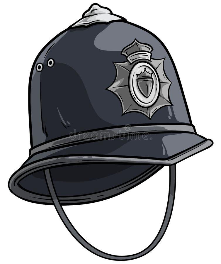 动画片伦敦与金属徽章的警察盔甲 向量例证