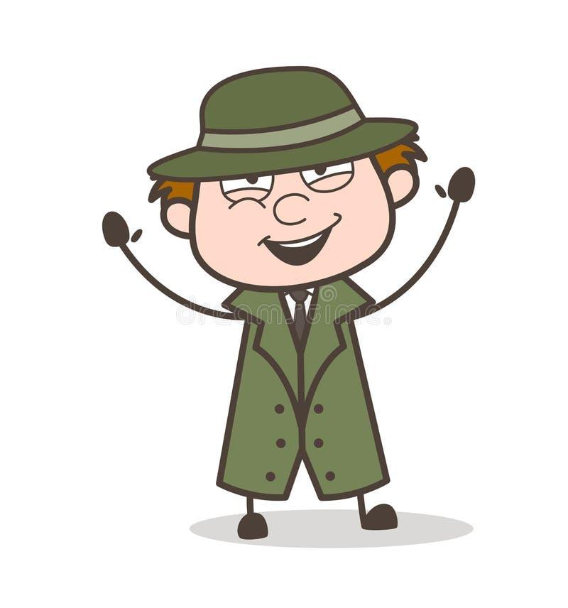 动画片侦探快乐的表示传染媒介例证 库存例证